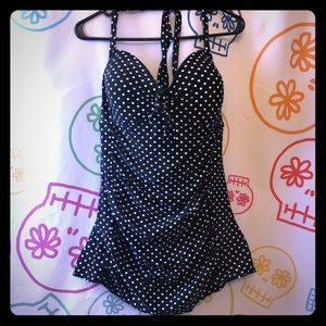 Merona Black White Polkadot Retro Pinup Swimsuit